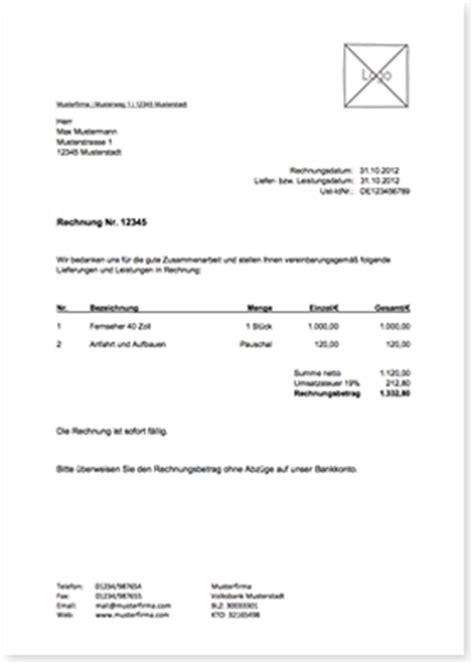 vorlagentest rechnungsvorlage wwwlexofficede