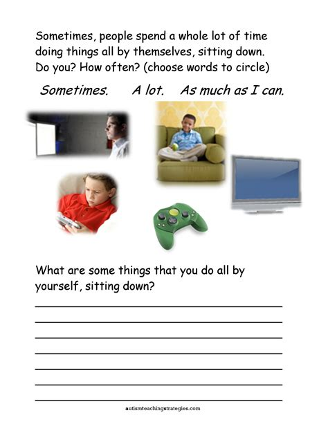 seven social skills worksheets for with asd who are