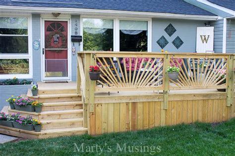 how to build a porch railing sunburst deck railing