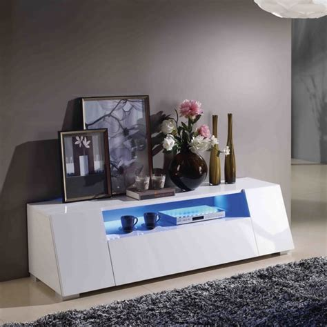 lazy lcd tv stand  high gloss white  led