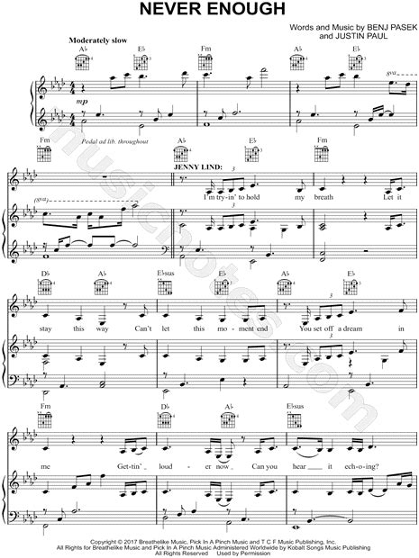 not angka lagu almost is never enough quot never enough quot from the greatest showman sheet in