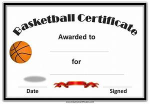 Sport Certificate Templates Free Printable Basketball Award Certificate Template