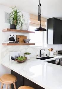 Stylish, Kitchen, 7, Natural, Wood, Floating, Shelves, Ideas