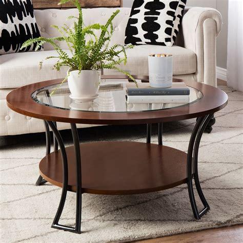 Round Coffee Table Shelf Wood Glass Living Room Walnut