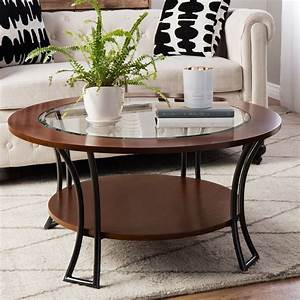 Walnut charcoal grey round coffee table metal wood shelf for Gray wood and metal coffee table