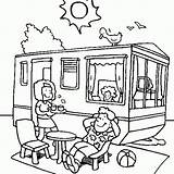Camping Caravan Roulotte Vacances Vacaciones Dessin Verano Coloriage Ete Dibujos Tente Dete Colorear Coloring Liefhebbers Camper Trailer Dibujo Colorare Disegni sketch template
