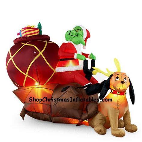 gemmy airblown inflatable grinch max  sleigh
