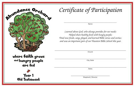vbs certificate vacation bible school programs the society of st andrew