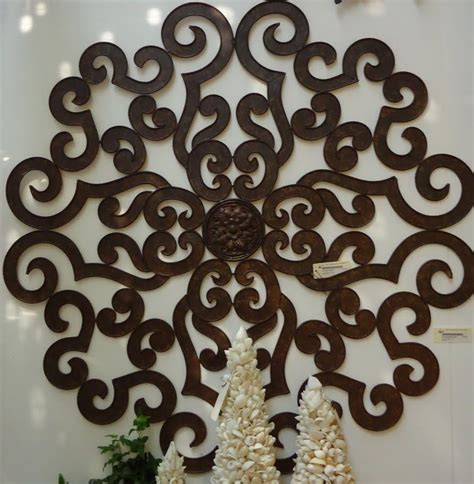 38 quot large brown scroll wall medallion round art metal iron swirl ebay