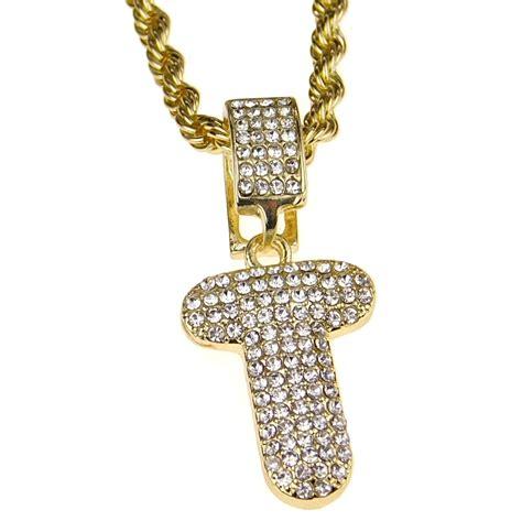 bling cartel bubble letter  block initial   rope chain bling pendant gold finish