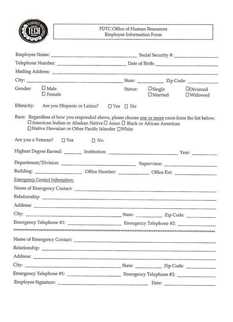 employment information sheet employee information sheet