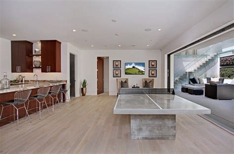 custom white oak hardwood floors contemporary basement