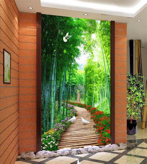 3d Nature Wallpapers Bamboo Wooden Bridge Custom 3d Photo