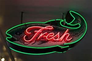 Seafood Neon Sign Stock Image