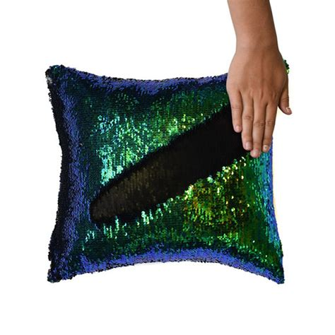 mermaid pillow cover mermaid tail change color sequins cushion inverted flip sequin pillow cover