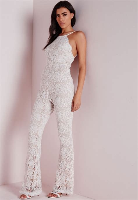 lace jumpsuit white missguided flared leg lace jumpsuit ivory in white ivory