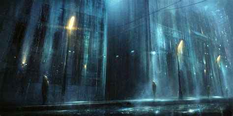 blue building city dark korbox night original rain scenic