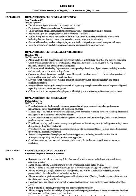 Human Resource Generalist Resume by Human Resources Generalist Resume Sles Velvet