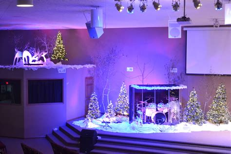 christmas village church stage design ideas