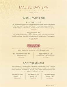spa menu templates and designs from imenupro With spa menu of services template