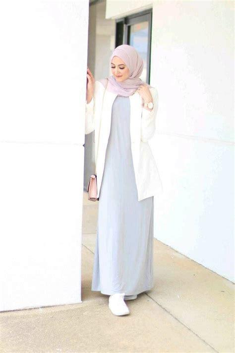 Simple outfits  light gray dress white cardigan soft purple hijab   Style   Pinterest ...