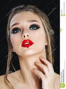 Fashion Model With Lips Make-up, Smoky Eyes, Nails Royalty ...