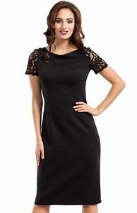 black sheath dress with lace sleeves and back me274n With robe noire fourreau