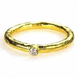 hammered 24k gold diamond stackable band ring set With 24k wedding ring set