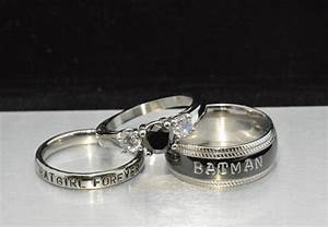 batman and batgirl forever rings black diamond cz and With batman 3 piece wedding ring set