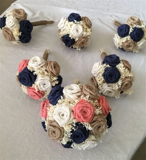 Burlap Bouquets In Coral Navy Ivory And Natural Burlap