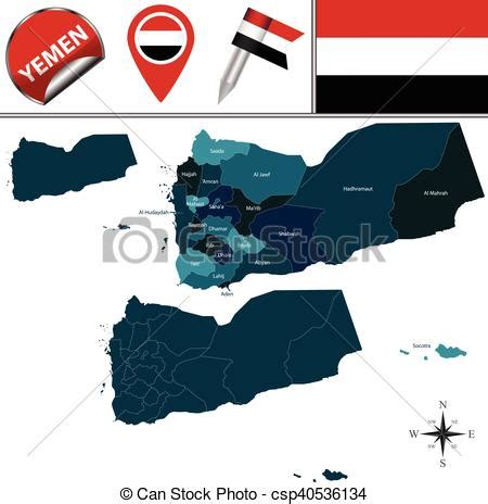 map  yemen  governorates vector map  yemen