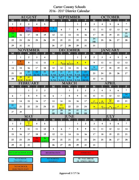 district calendar carter county schools