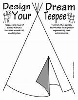Teepee North Coloring Native Symbols Indian Cherokee Iroquois Patterns sketch template