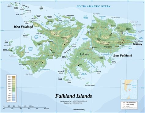 Topographical map of the Falkland islands (las Islas