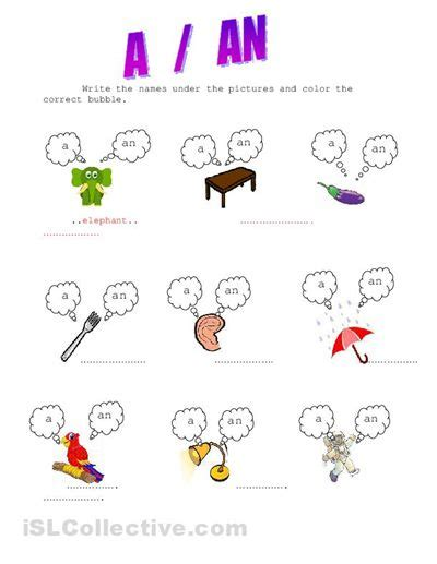 articles a an exercises for kids colores english