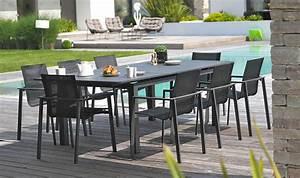 Salon De Jardin Miami : ensemble de jardin table extensible 8 fauteuils alu anthracite ~ Melissatoandfro.com Idées de Décoration