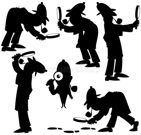 Detective Silhouettes Stock Vector. Illustration Of