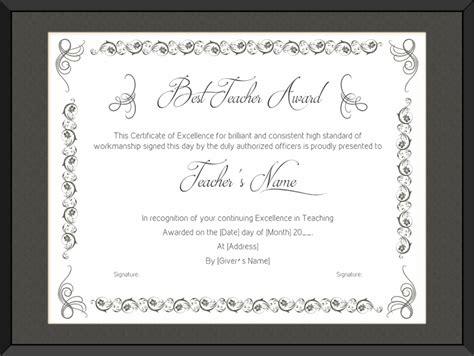 teaching performance award certificate template