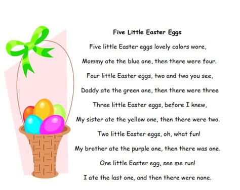 easter poem for preschool theme printables for preschool and kindergarten 667