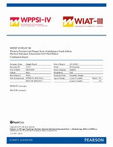 Wppsi iv sample report fill online printable fillable for Wppsi iv report template