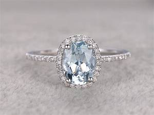 Natural Blue Aquamarine Ring Engagement Ring White Gold With