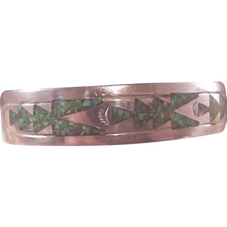 vintage navajo sterling inlaid turquoise cuff gibson gene