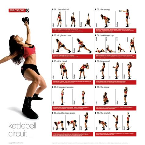kettlebell workout exercises circuit printable workouts kettle exercise bell training fitness ball chart strength challenge poster body crossfit arm routines