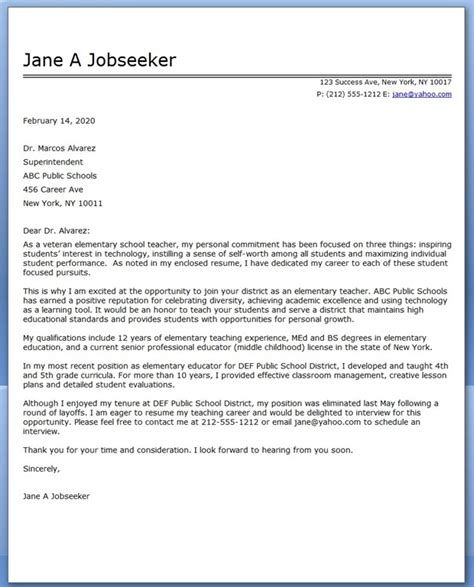 cover letter for college instructor elementary school teacher cover letter samples creative