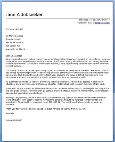 elementary school teacher cover letter samples resume