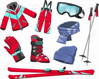 Ski Equipment Cartoon Tools Clipart Icons Boots