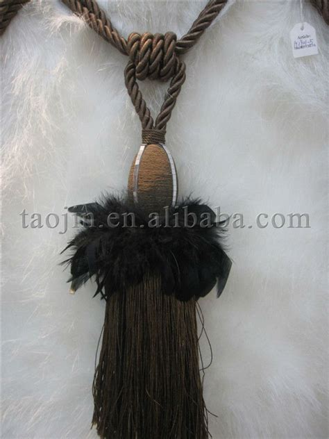 black feather curtain tie back tassel buy decorative