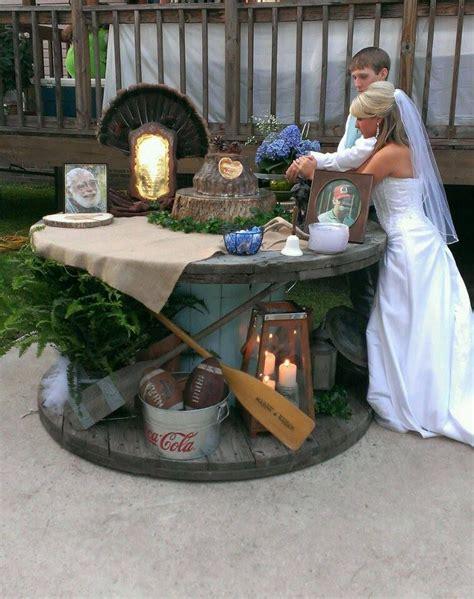 decorate grooms cake table  memorabilia representing