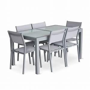 Salon De Jardin Gris Clair : salon de jardin 6 chaises table rallonge extensible 150 210cm alu gris clair textil ne gris clair ~ Teatrodelosmanantiales.com Idées de Décoration