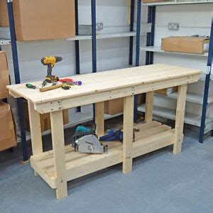 ft large wooden workbench strong sturdy heavy duty